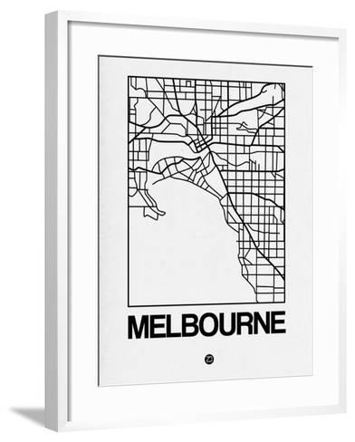 White Map of Melbourne-NaxArt-Framed Art Print