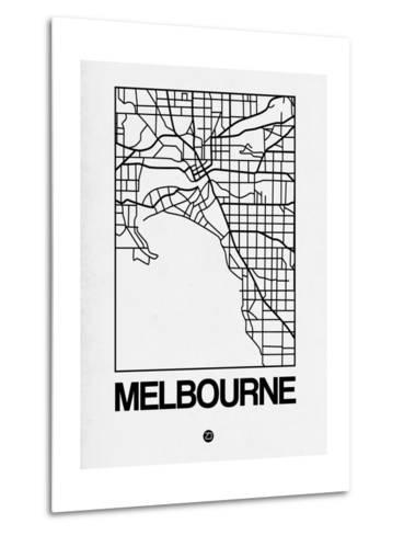 White Map of Melbourne-NaxArt-Metal Print
