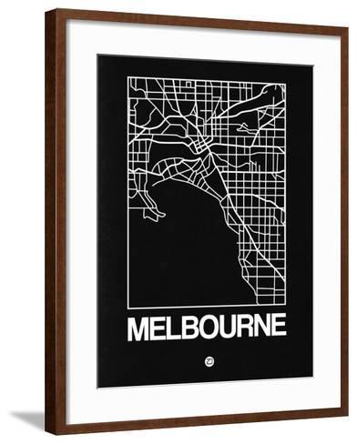 Black Map of Melbourne-NaxArt-Framed Art Print