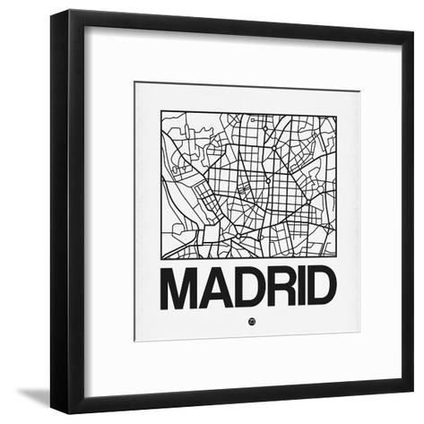 White Map of Madrid-NaxArt-Framed Art Print