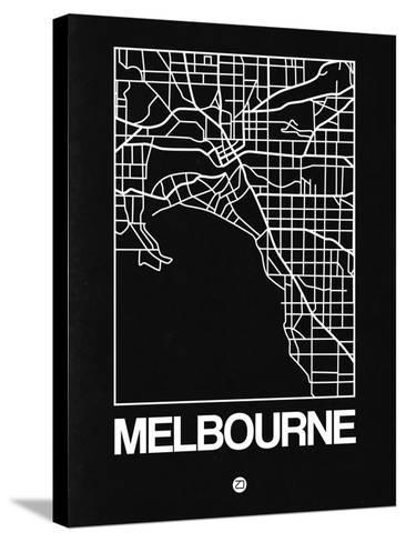 Black Map of Melbourne-NaxArt-Stretched Canvas Print