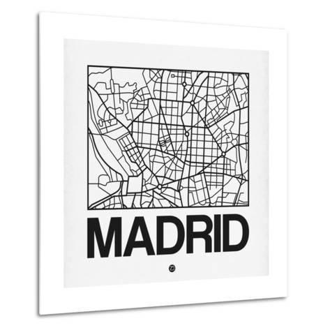 White Map of Madrid-NaxArt-Metal Print