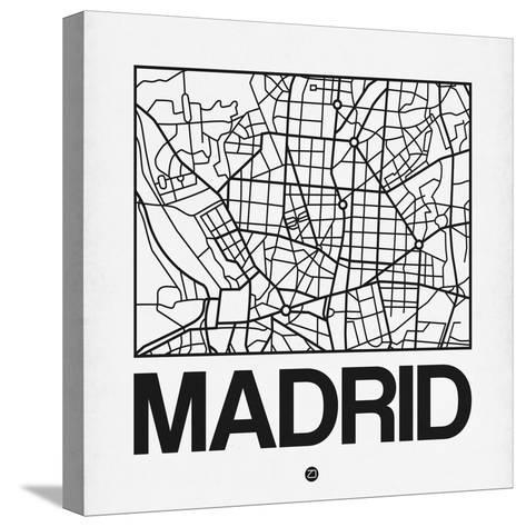 White Map of Madrid-NaxArt-Stretched Canvas Print