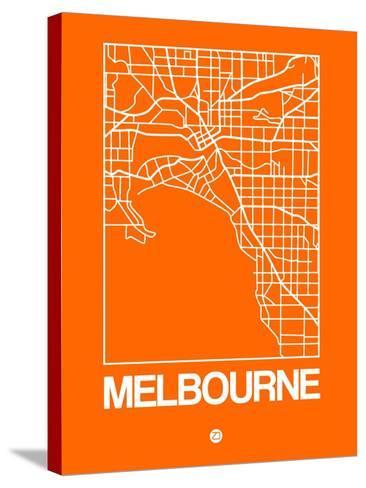Orange Map of Melbourne-NaxArt-Stretched Canvas Print