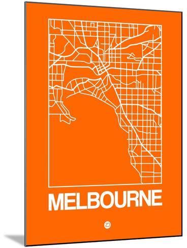 Orange Map of Melbourne-NaxArt-Mounted Art Print