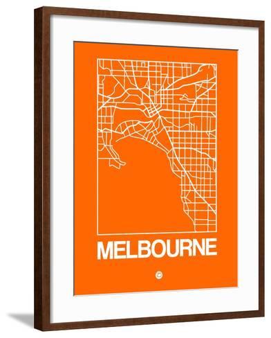 Orange Map of Melbourne-NaxArt-Framed Art Print