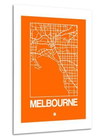 Orange Map of Melbourne-NaxArt-Metal Print