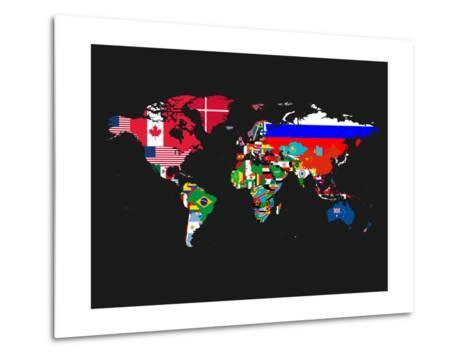 World Map Contry Flags 1-NaxArt-Metal Print