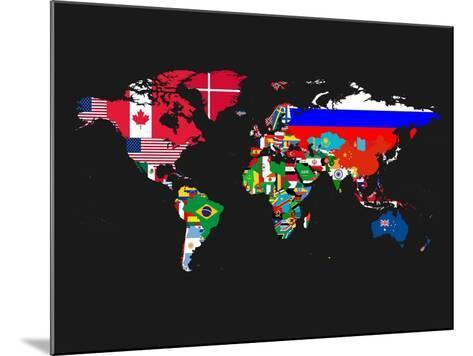 World Map Contry Flags 1-NaxArt-Mounted Art Print
