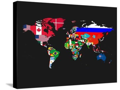 World Map Contry Flags 1-NaxArt-Stretched Canvas Print