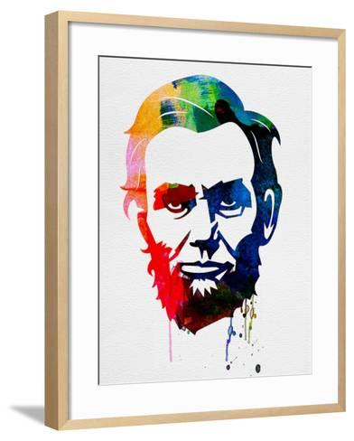 Abraham Lincoln Watercolor-Lora Feldman-Framed Art Print