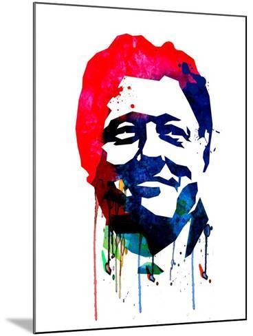 Bill Clinton Watercolor-Lora Feldman-Mounted Art Print