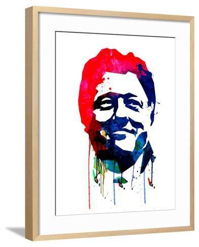 Bill Clinton Watercolor-Lora Feldman-Framed Art Print