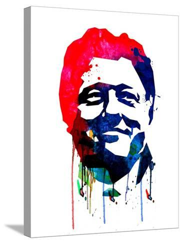 Bill Clinton Watercolor-Lora Feldman-Stretched Canvas Print