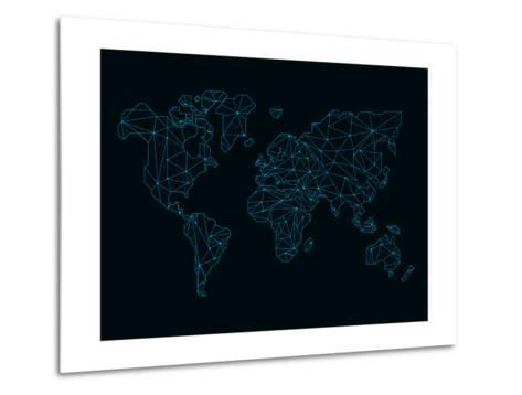 World Map Blue Wire-NaxArt-Metal Print