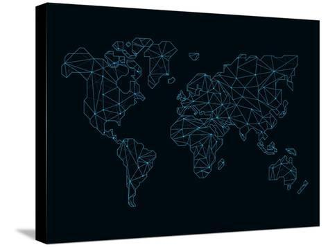 World Map Blue Wire-NaxArt-Stretched Canvas Print