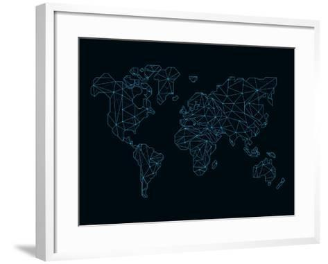 World Map Blue Wire-NaxArt-Framed Art Print