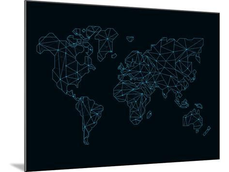 World Map Blue Wire-NaxArt-Mounted Art Print