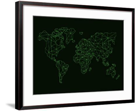 World Map Green Wire-NaxArt-Framed Art Print
