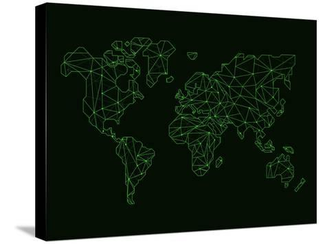 World Map Green Wire-NaxArt-Stretched Canvas Print