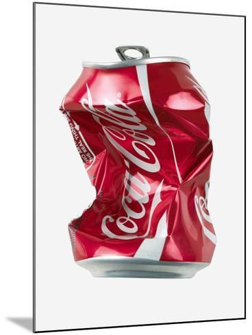 Crushed Coca Cola Can Cut-out-Mark Sykes-Mounted Photographic Print