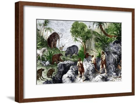Prehistoric Humans And Animals-Sheila Terry-Framed Art Print