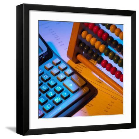 Abacus And Calculator-Mark Sykes-Framed Art Print