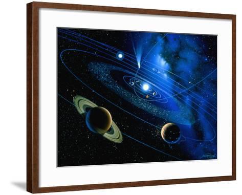 Artwork of Solar System And Comet-Detlev Van Ravenswaay-Framed Art Print