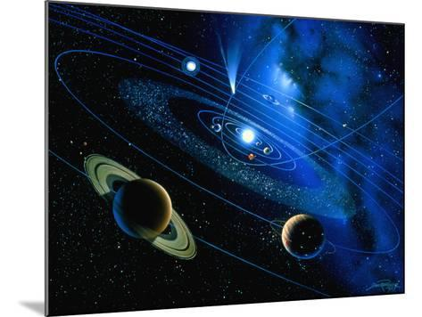Artwork of Solar System And Comet-Detlev Van Ravenswaay-Mounted Photographic Print