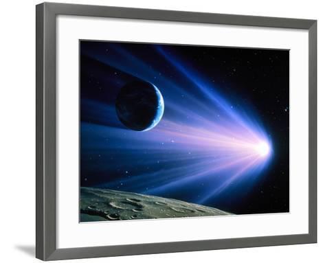 Artwork of a Comet Passing Earth-Joe Tucciarone-Framed Art Print