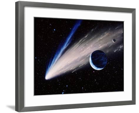 Artwork of a Comet Passing the Earth-Joe Tucciarone-Framed Art Print