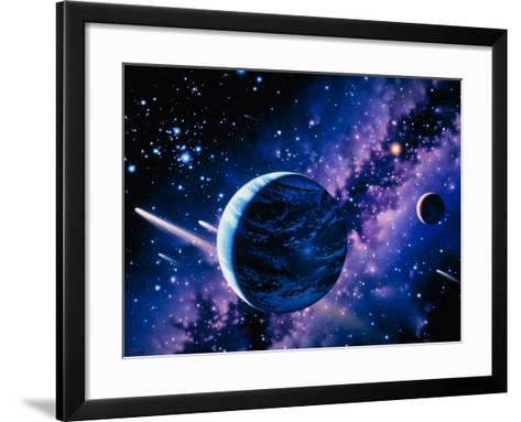 Artwork of Comets Passing the Earth-Joe Tucciarone-Framed Art Print