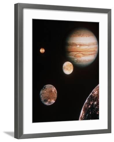 Voyager Mosaic of Jupiter & Its 4 Galilean Moons--Framed Art Print