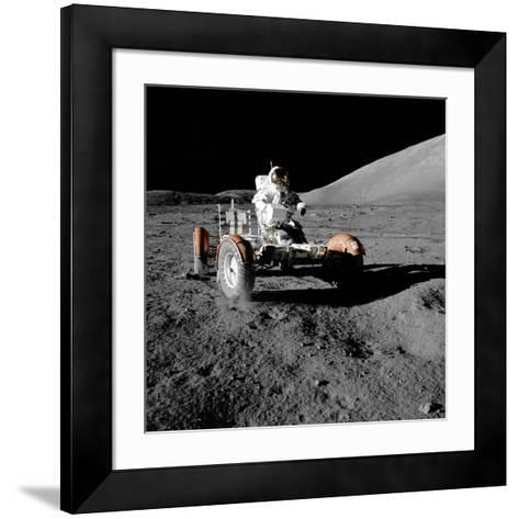 Eugene Cernan on Lunar Rover, Apollo 17--Framed Art Print