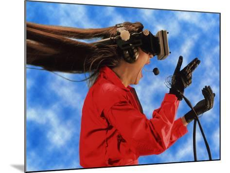 Researcher Wearing Virtual Reality Headset--Mounted Photographic Print