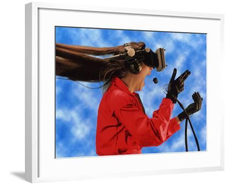 Researcher Wearing Virtual Reality Headset--Framed Art Print