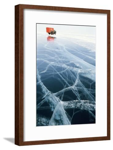 Truck on Frozen Lake Baikal-Ria Novosti-Framed Art Print
