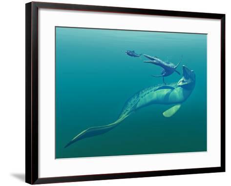 Cretaceous Marine Predators, Artwork-Walter Myers-Framed Art Print