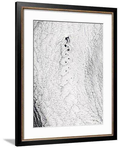 Von Karman Vortices In Clouds--Framed Art Print