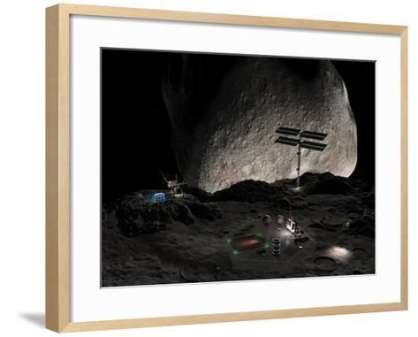 Asteroid Mining Settlement, Artwork-Walter Myers-Framed Art Print