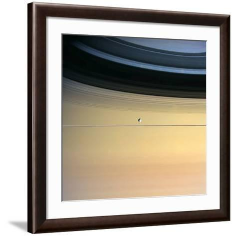 Dione And Ring Shadows on Saturn, Cassini--Framed Art Print