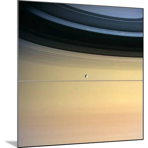 Dione And Ring Shadows on Saturn, Cassini--Mounted Photographic Print