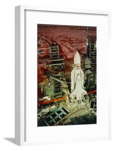 Russian Shuttle Buran on Launch Pad At Night-Ria Novosti-Framed Art Print