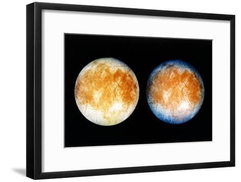 Two Views of Europa From the Galileo Spacecraft--Framed Art Print
