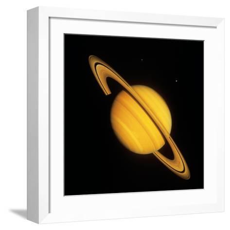 Saturn with Two Moon--Framed Art Print