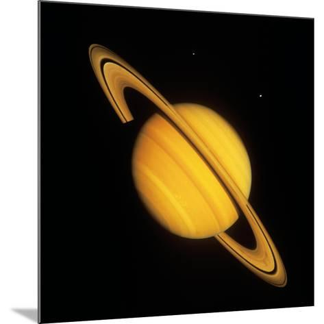 Saturn with Two Moon--Mounted Photographic Print