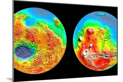 3-D Topography of Mars--Mounted Photographic Print