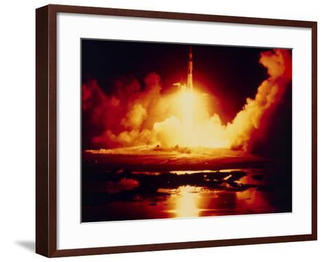 Night Launch of Apollo 17--Framed Art Print