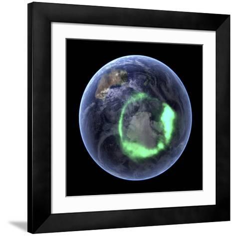 Aurora Over Antarctica, Satellite Image--Framed Art Print