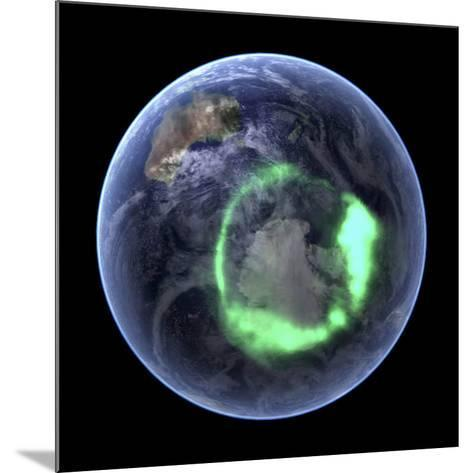 Aurora Over Antarctica, Satellite Image--Mounted Photographic Print